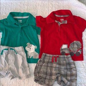 2 Carter's matching sets. Size 12 months